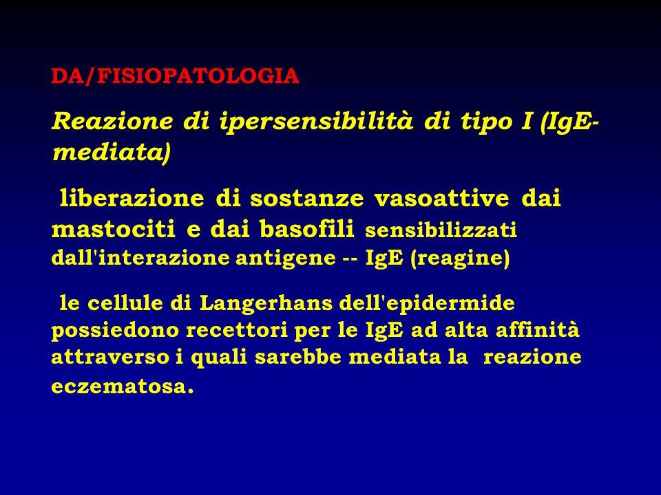 DA/FISIOPATOLOGIA Reazione di ipersensibilità di tipo I (IgE- mediata) liberazione di sostanze vasoattive dai mastociti e dai basofili sensibilizzati