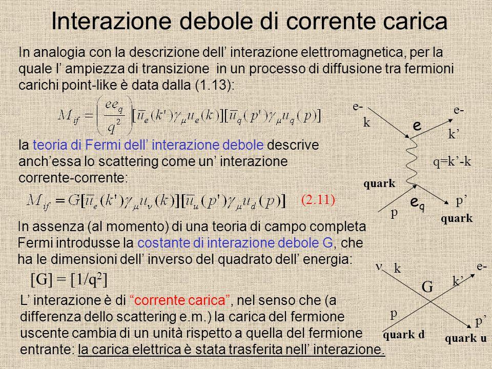 Interazione debole di corrente carica In analogia con la descrizione dell' interazione elettromagnetica, per la quale l' ampiezza di transizione in un