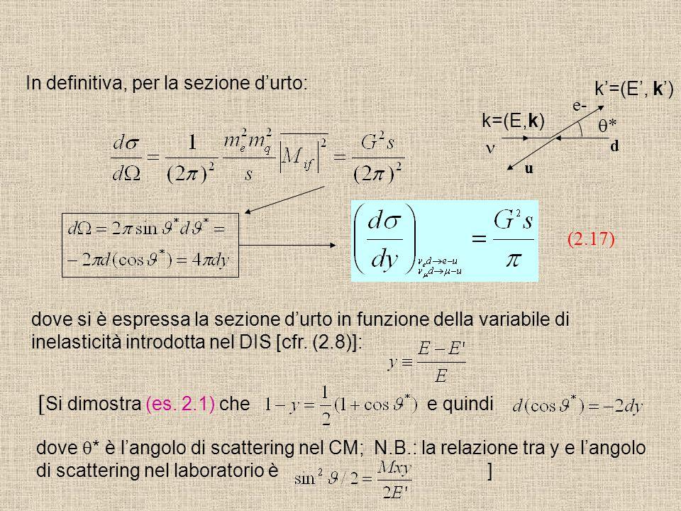 In definitiva, per la sezione d'urto: (2.17) dove si è espressa la sezione d'urto in funzione della variabile di inelasticità introdotta nel DIS [cfr.