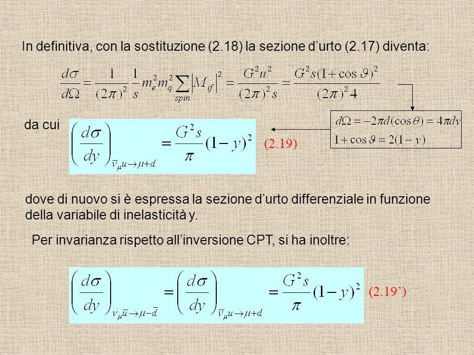 In definitiva, con la sostituzione (2.18) la sezione d'urto (2.17) diventa: dove di nuovo si è espressa la sezione d'urto differenziale in funzione de