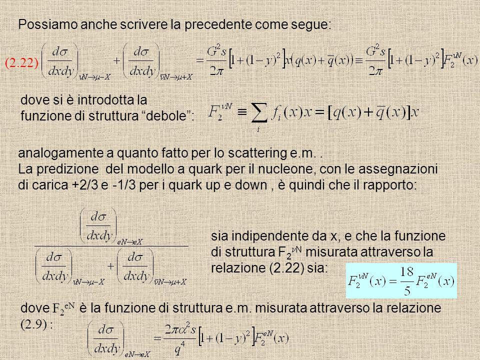 """(2.22) dove si è introdotta la funzione di struttura """"debole"""": analogamente a quanto fatto per lo scattering e.m.. La predizione del modello a quark p"""