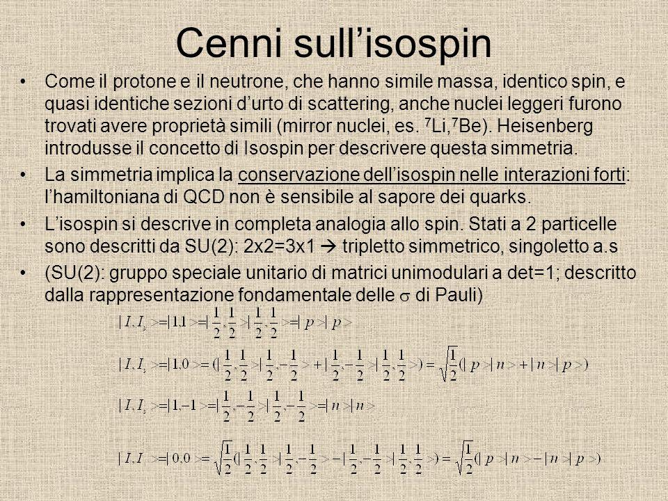 Cenni sull'isospin Come il protone e il neutrone, che hanno simile massa, identico spin, e quasi identiche sezioni d'urto di scattering, anche nuclei