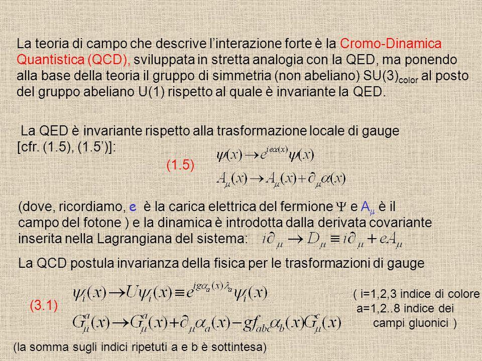 La teoria di campo che descrive l'interazione forte è la Cromo-Dinamica Quantistica (QCD), sviluppata in stretta analogia con la QED, ma ponendo alla