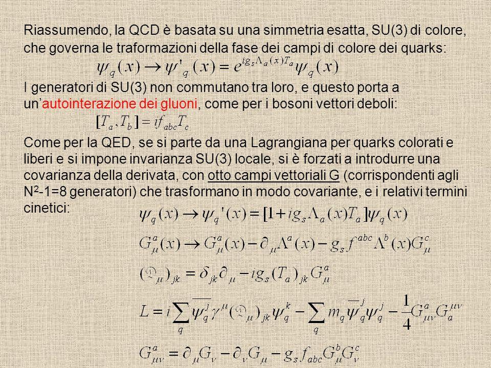Riassumendo, la QCD è basata su una simmetria esatta, SU(3) di colore, che governa le traformazioni della fase dei campi di colore dei quarks: I gener