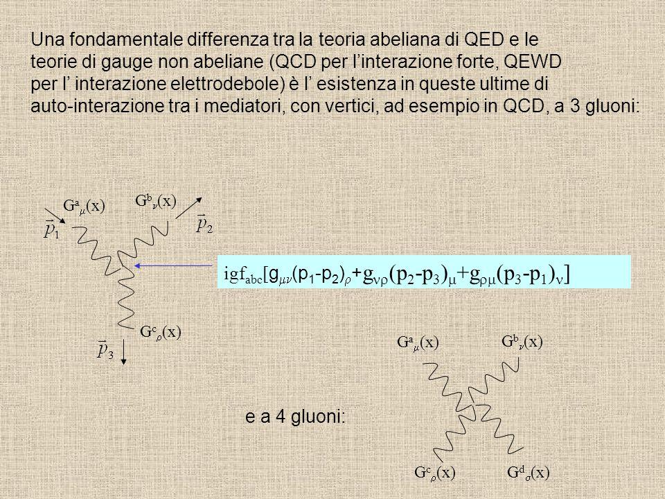 Una fondamentale differenza tra la teoria abeliana di QED e le teorie di gauge non abeliane (QCD per l'interazione forte, QEWD per l' interazione elet