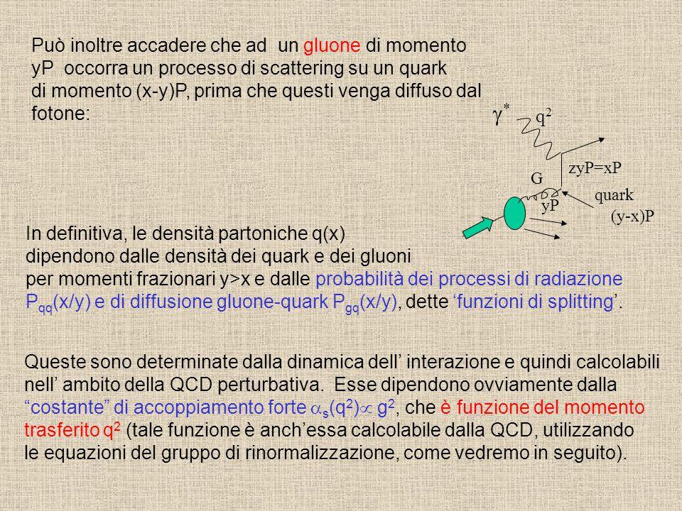 q2q2 zyP=xP ** quark yP G Può inoltre accadere che ad un gluone di momento yP occorra un processo di scattering su un quark di momento (x-y)P, prima