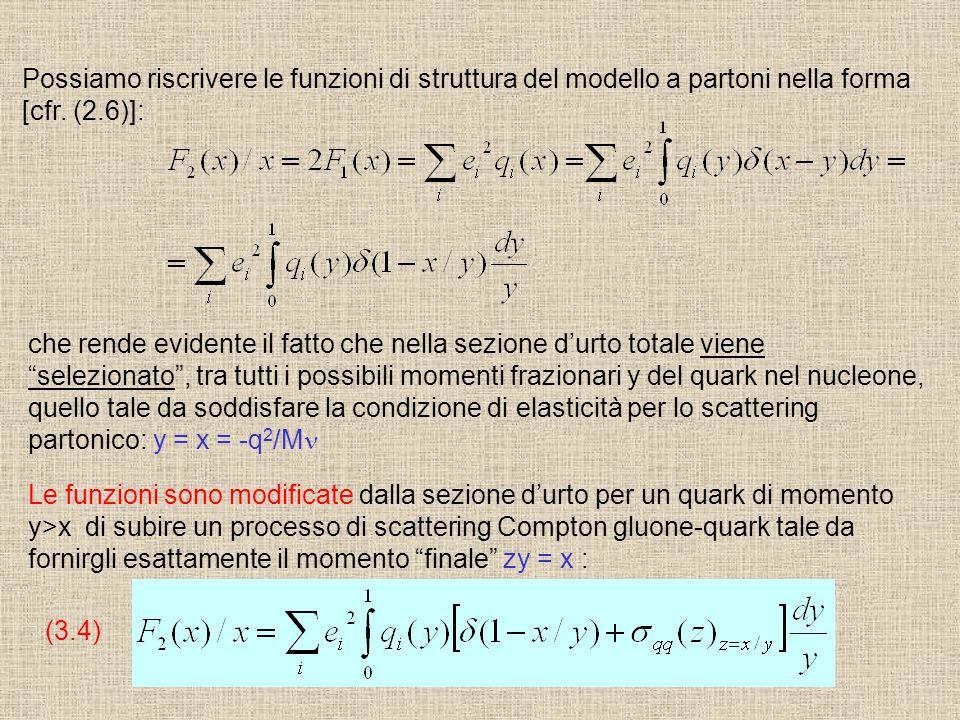 Possiamo riscrivere le funzioni di struttura del modello a partoni nella forma [cfr. (2.6)]: che rende evidente il fatto che nella sezione d'urto tota