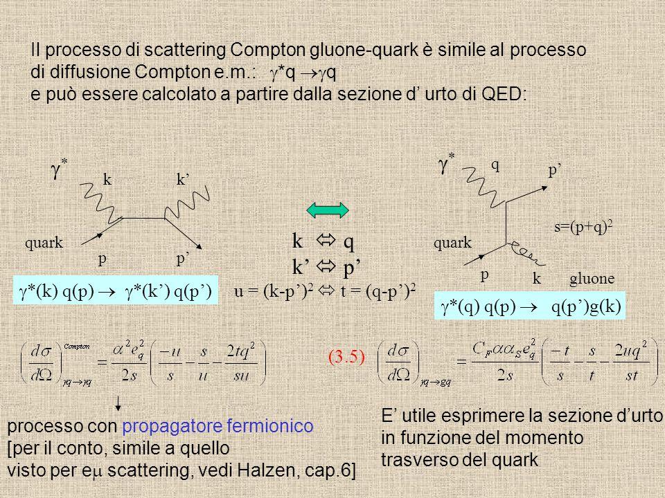 Il processo di scattering Compton gluone-quark è simile al processo di diffusione Compton e.m.:  *q  q e può essere calcolato a partire dalla sezio