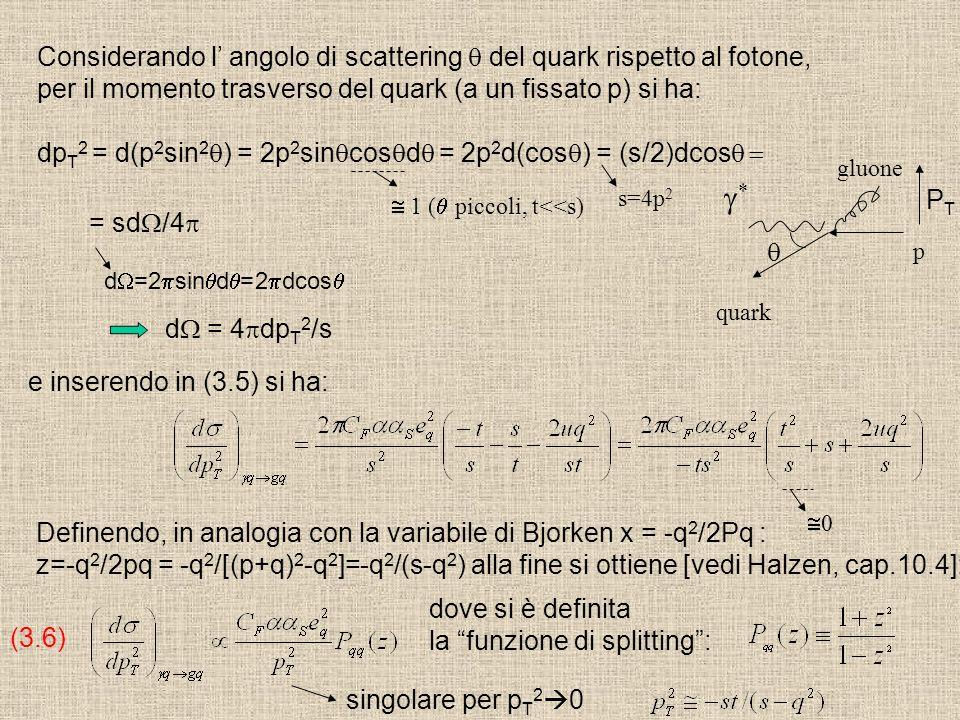 Considerando l' angolo di scattering  del quark rispetto al fotone, per il momento trasverso del quark (a un fissato p) si ha: dp T 2 = d(p 2 sin 2 