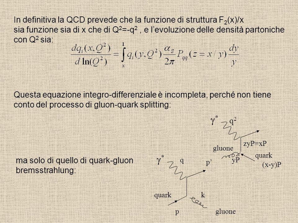 In definitiva la QCD prevede che la funzione di struttura F 2 (x)/x sia funzione sia di x che di Q 2 =-q 2, e l'evoluzione delle densità partoniche co