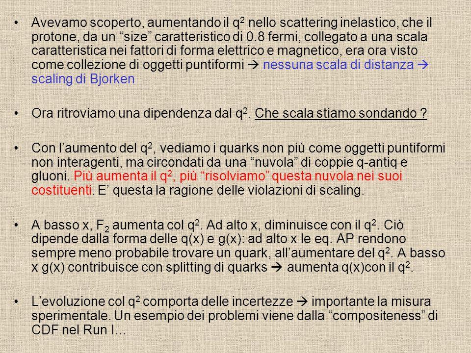 """Avevamo scoperto, aumentando il q 2 nello scattering inelastico, che il protone, da un """"size"""" caratteristico di 0.8 fermi, collegato a una scala carat"""