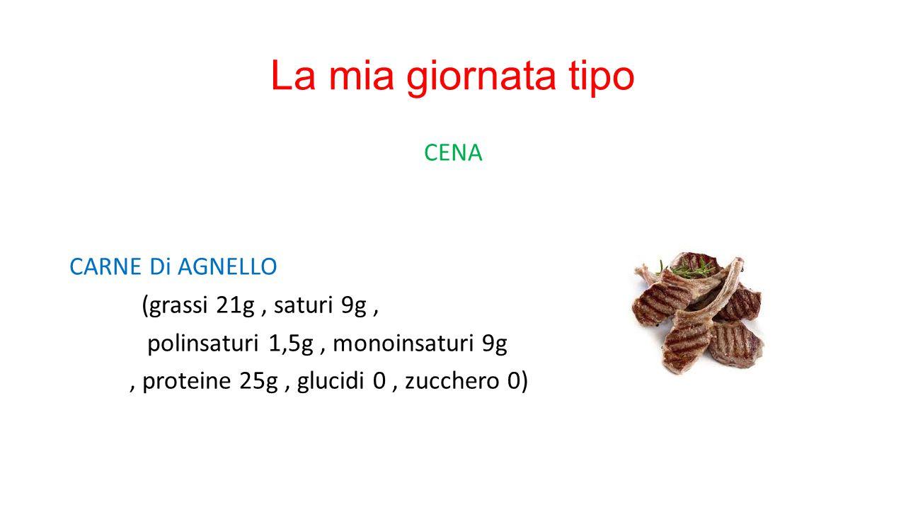 La mia giornata tipo CENA CARNE Di AGNELLO (grassi 21g, saturi 9g, polinsaturi 1,5g, monoinsaturi 9g, proteine 25g, glucidi 0, zucchero 0)