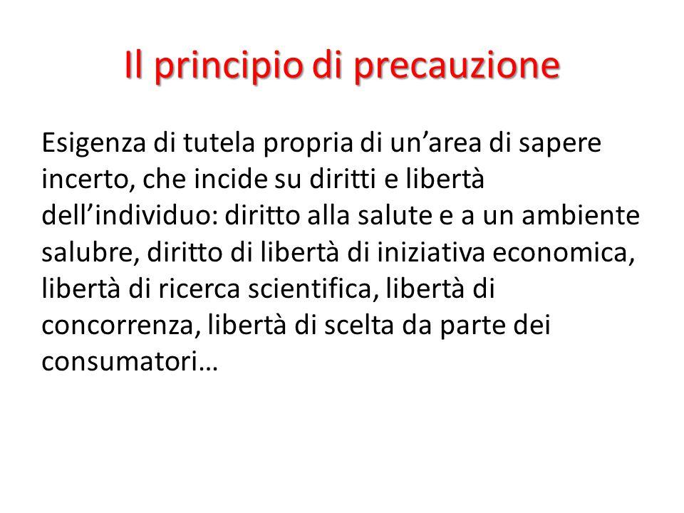Il principio di precauzione Esigenza di tutela propria di un'area di sapere incerto, che incide su diritti e libertà dell'individuo: diritto alla salu