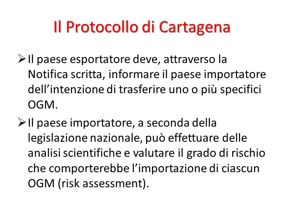 Il Protocollo di Cartagena  Il paese esportatore deve, attraverso la Notifica scritta, informare il paese importatore dell'intenzione di trasferire u