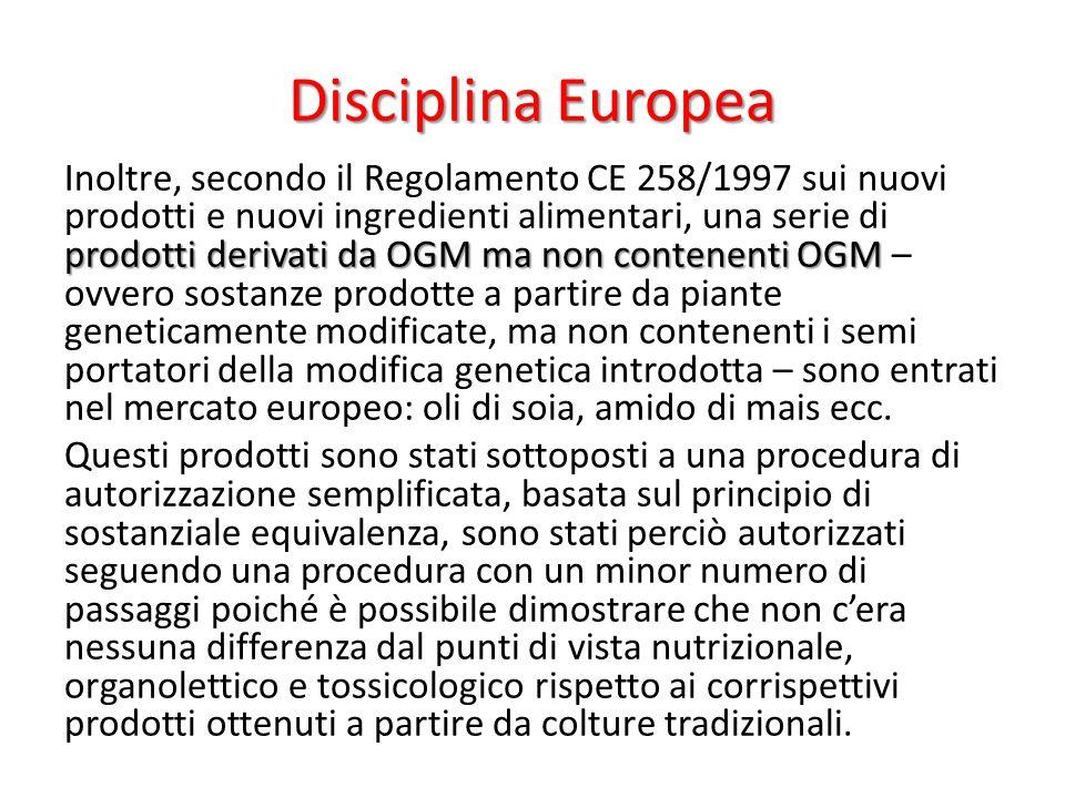 Disciplina Europea prodotti derivati da OGM ma non contenenti OGM Inoltre, secondo il Regolamento CE 258/1997 sui nuovi prodotti e nuovi ingredienti a
