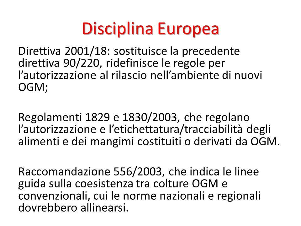 Disciplina Europea Direttiva 2001/18: sostituisce la precedente direttiva 90/220, ridefinisce le regole per l'autorizzazione al rilascio nell'ambiente