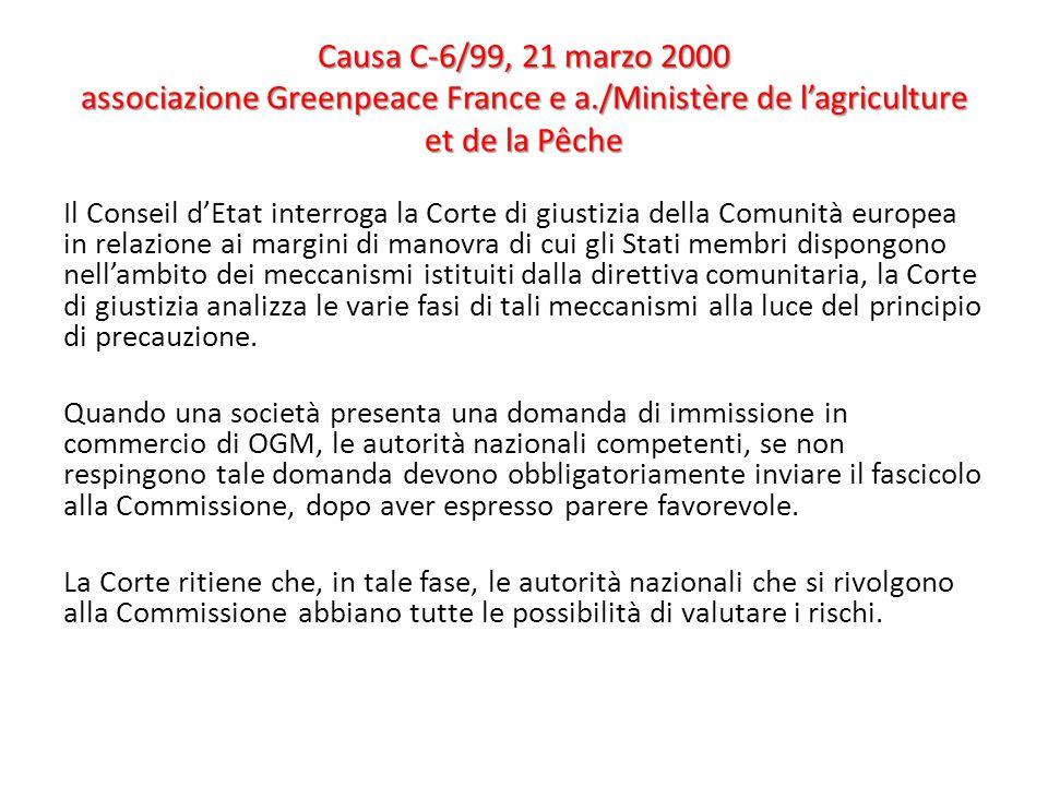 Causa C-6/99, 21 marzo 2000 associazione Greenpeace France e a./Ministère de l'agriculture et de la Pêche Il Conseil d'Etat interroga la Corte di gius