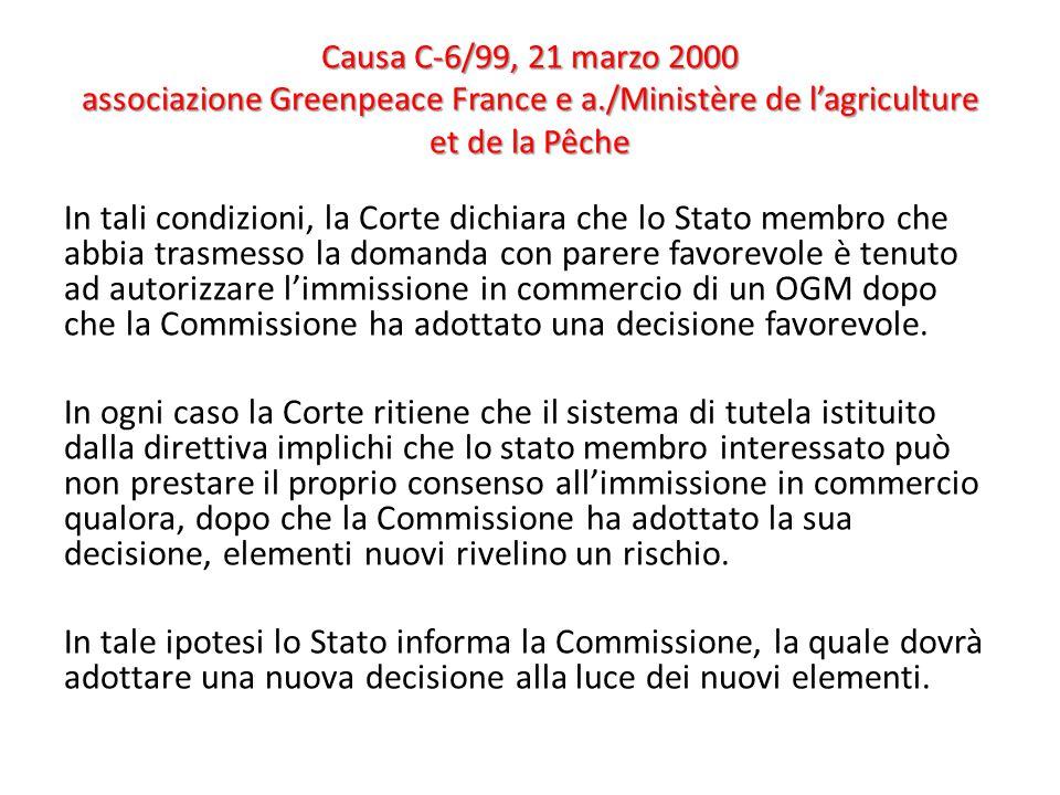 Causa C-6/99, 21 marzo 2000 associazione Greenpeace France e a./Ministère de l'agriculture et de la Pêche In tali condizioni, la Corte dichiara che lo