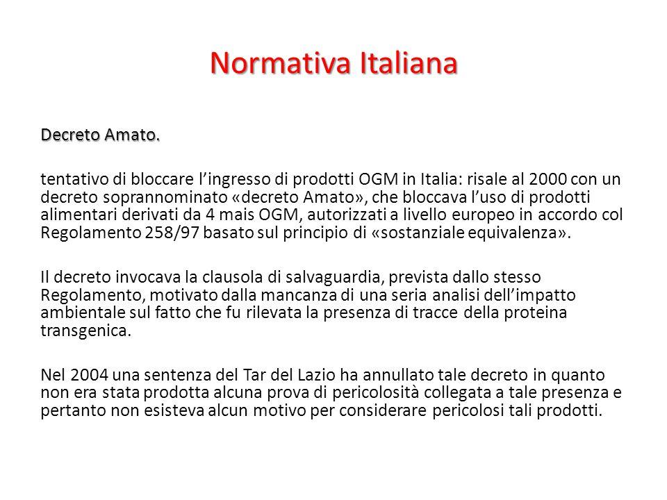 Normativa Italiana Decreto Amato. tentativo di bloccare l'ingresso di prodotti OGM in Italia: risale al 2000 con un decreto soprannominato «decreto Am