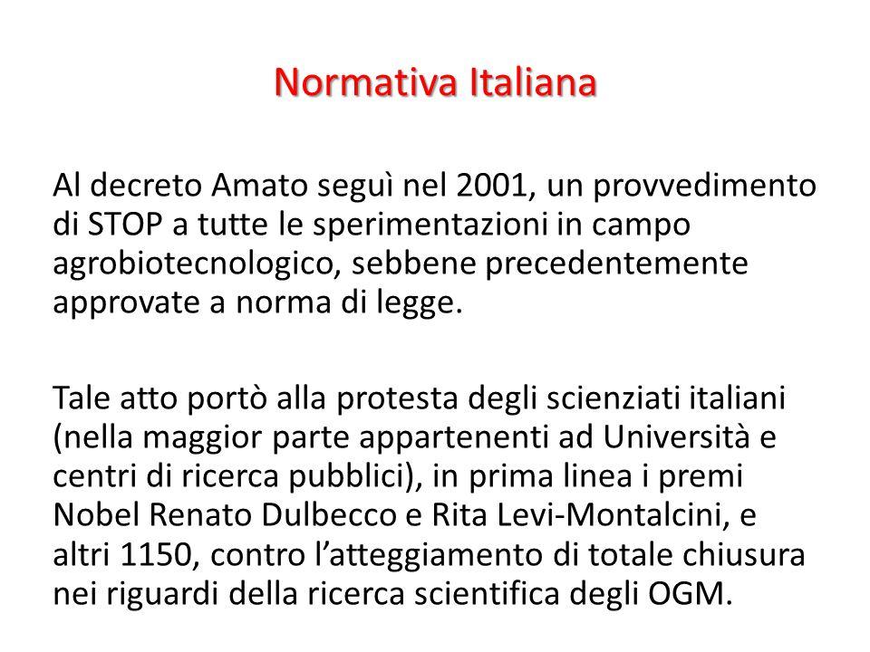 Normativa Italiana Al decreto Amato seguì nel 2001, un provvedimento di STOP a tutte le sperimentazioni in campo agrobiotecnologico, sebbene precedent