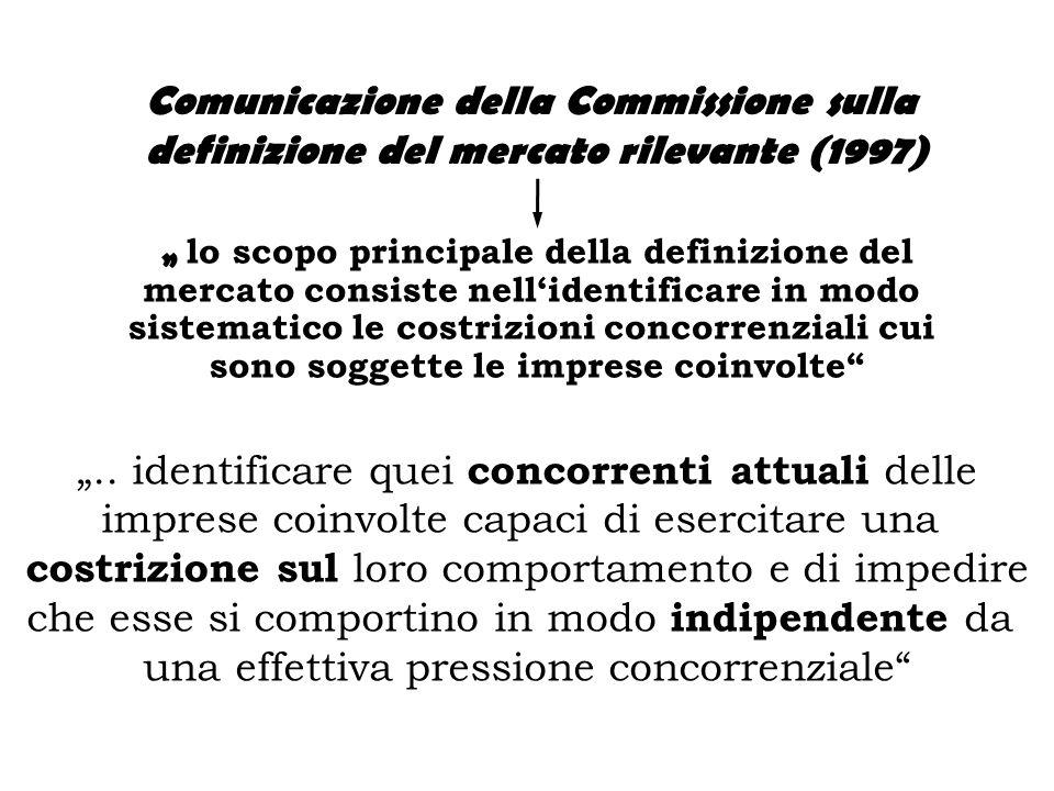""""""" lo scopo principale della definizione del mercato consiste nell'identificare in modo sistematico le costrizioni concorrenziali cui sono soggette le imprese coinvolte Comunicazione della Commissione sulla definizione del mercato rilevante (1997) """".."""