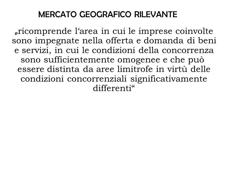 """MERCATO GEOGRAFICO RILEVANTE """" ricomprende l'area in cui le imprese coinvolte sono impegnate nella offerta e domanda di beni e servizi, in cui le condizioni della concorrenza sono sufficientemente omogenee e che può essere distinta da aree limitrofe in virtù delle condizioni concorrenziali significativamente differenti"""