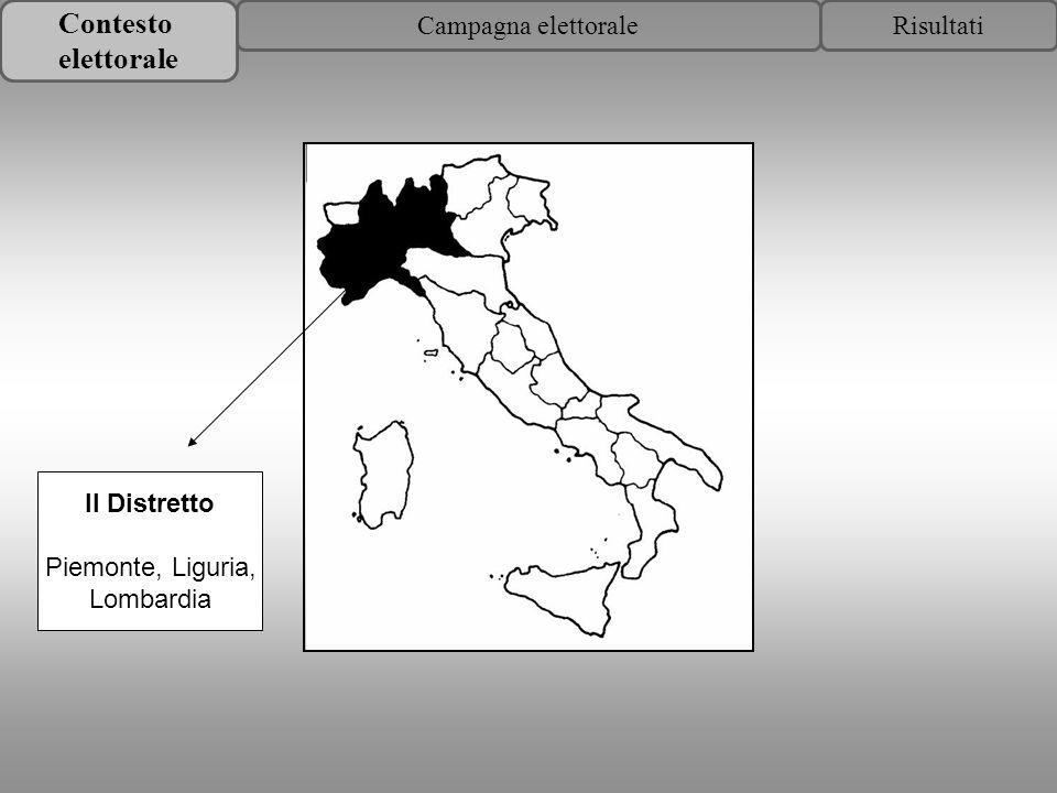 Contesto elettorale RisultatiCampagna elettorale II Distretto Piemonte, Liguria, Lombardia