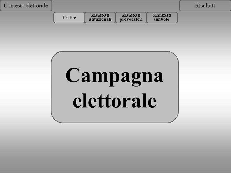 Risultati Campagna elettorale Contesto elettorale Le liste Manifesti istituzionali Manifesti provocatori Manifesti simbolo Campagna elettorale