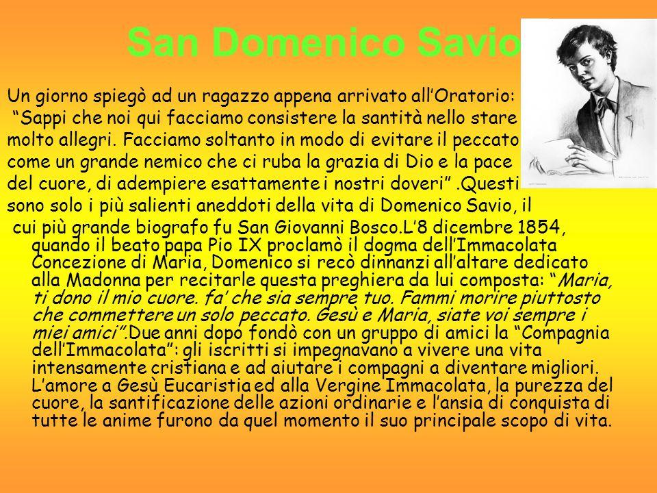 Un giorno mamma Margherita, che era scesa a Torino per aiutare il figlio Don Bosco, disse a quest' ultimo: Tu hai molti giovani buoni, ma nessuno supera il bel cuore e la bell anima di Savio Domenico.