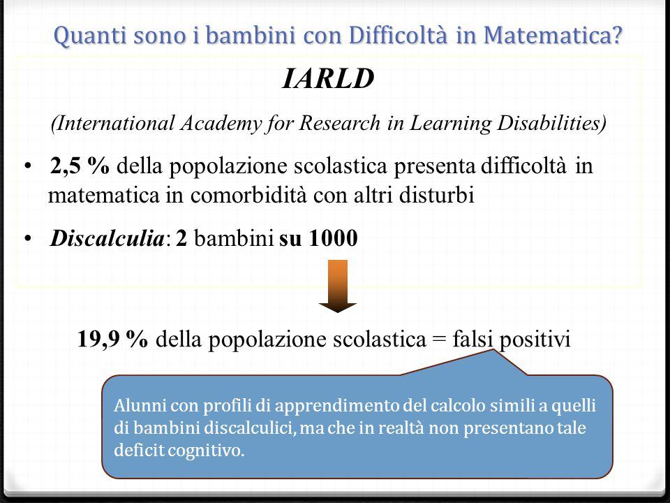 IARLD (International Academy for Research in Learning Disabilities) 2,5 % della popolazione scolastica presenta difficoltà in matematica in comorbidità con altri disturbi Discalculia: 2 bambini su 1000 19,9 % della popolazione scolastica = falsi positivi _ Quanti sono i bambini con Difficoltà in Matematica.
