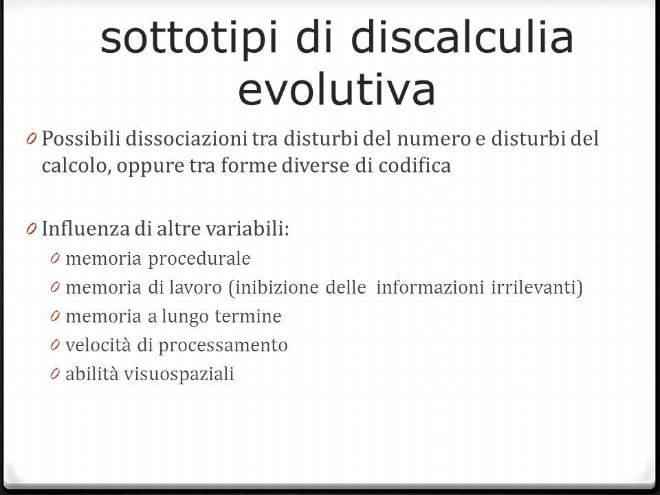 sottotipi di discalculia evolutiva 0 Possibili dissociazioni tra disturbi del numero e disturbi del calcolo, oppure tra forme diverse di codifica 0 In