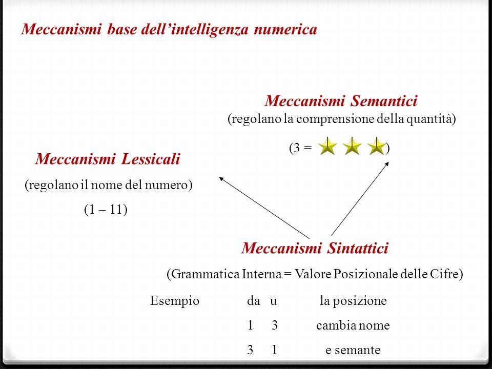 Meccanismi base dell'intelligenza numerica Meccanismi Semantici (regolano la comprensione della quantità) (3 = ) Meccanismi Lessicali (regolano il nom