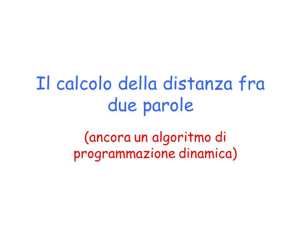Il calcolo della distanza fra due parole (ancora un algoritmo di programmazione dinamica)
