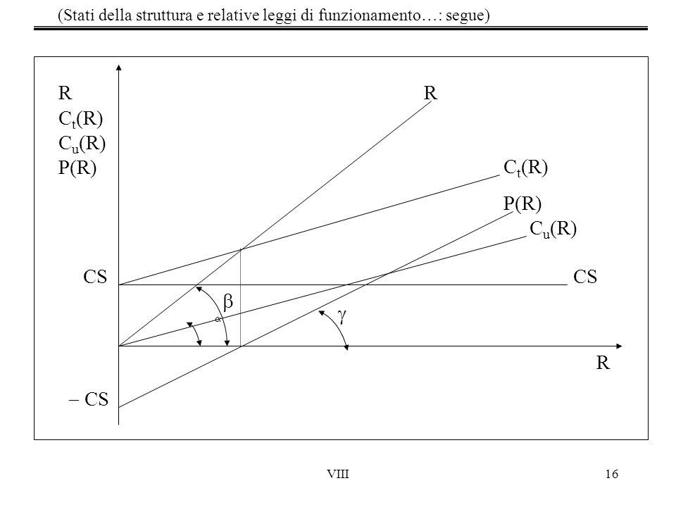 VIII16 (Stati della struttura e relative leggi di funzionamento…: segue) CS R  CS R C t (R) C u (R) P(R) R C t (R) P(R) C u (R)   