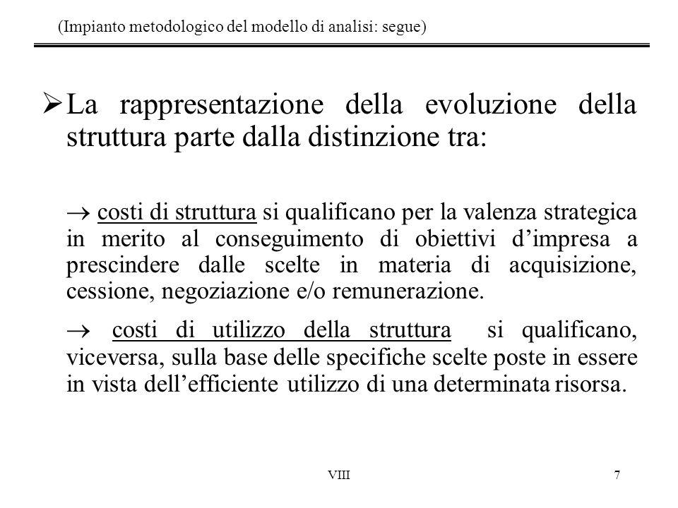 VIII7 (Impianto metodologico del modello di analisi: segue)  La rappresentazione della evoluzione della struttura parte dalla distinzione tra:  costi di struttura si qualificano per la valenza strategica in merito al conseguimento di obiettivi d'impresa a prescindere dalle scelte in materia di acquisizione, cessione, negoziazione e/o remunerazione.