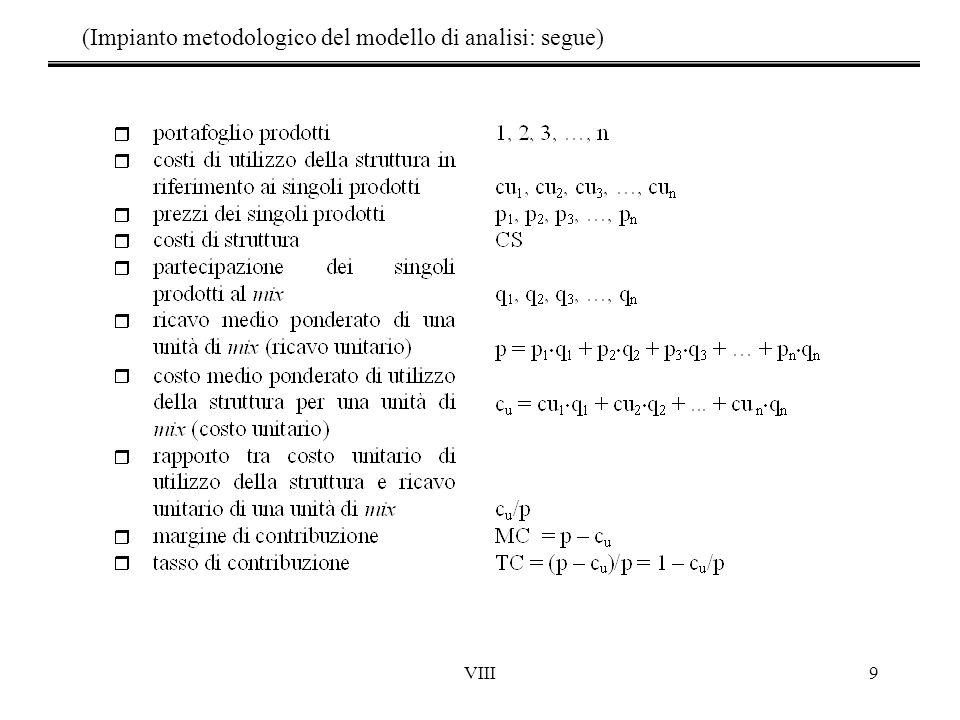 VIII9 (Impianto metodologico del modello di analisi: segue)