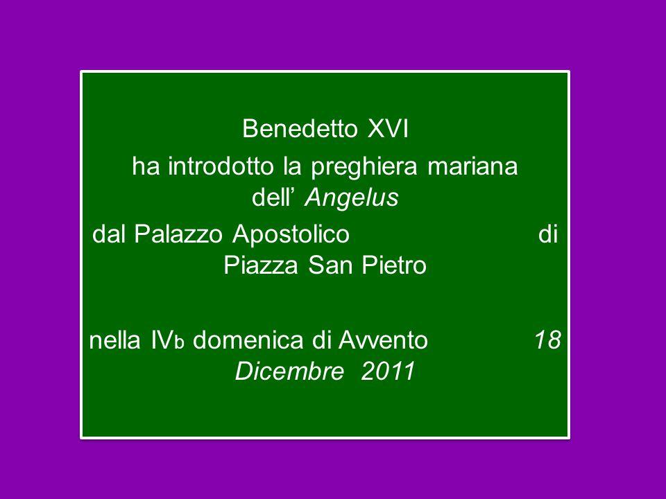Benedetto XVI ha introdotto la preghiera mariana dell' Angelus dal Palazzo Apostolico di Piazza San Pietro nella IV b domenica di Avvento 18 Dicembre 2011 Benedetto XVI ha introdotto la preghiera mariana dell' Angelus dal Palazzo Apostolico di Piazza San Pietro nella IV b domenica di Avvento 18 Dicembre 2011