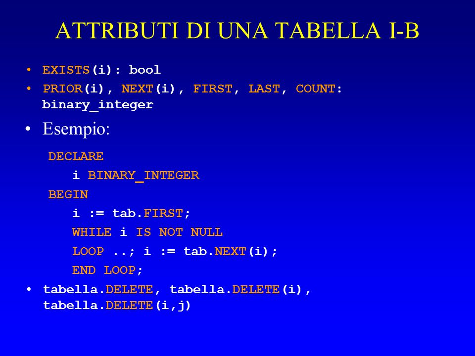 ATTRIBUTI DI UNA TABELLA I-B EXISTS(i): bool PRIOR(i), NEXT(i), FIRST, LAST, COUNT: binary_integer Esempio: DECLARE i BINARY_INTEGER BEGIN i := tab.FIRST; WHILE i IS NOT NULL LOOP..; i := tab.NEXT(i); END LOOP; tabella.DELETE, tabella.DELETE(i), tabella.DELETE(i,j)