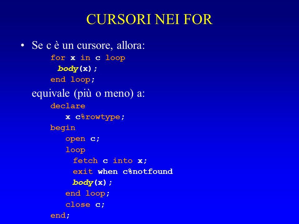 CURSORI IMPLICITI Se c è un cursore, allora: for x in ( query ) loop body(x); end loop; equivale a: for x in c loop body(x); end loop;