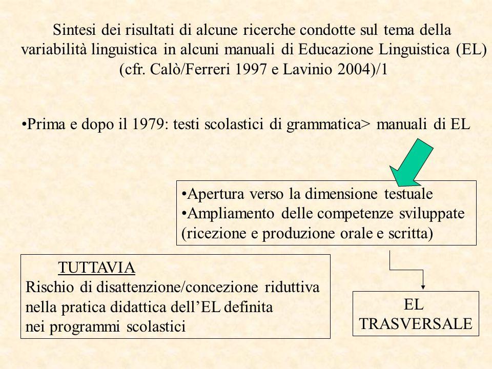 Sintesi dei risultati di alcune ricerche condotte sul tema della variabilità linguistica in alcuni manuali di Educazione Linguistica (EL) (cfr.