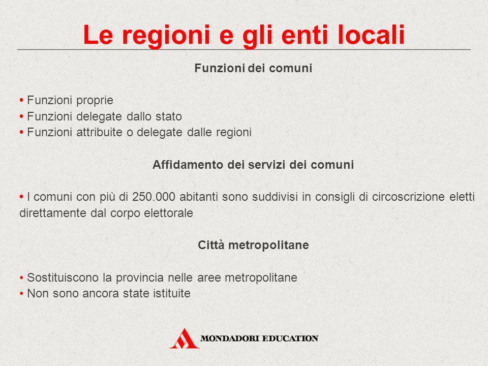 Funzioni dei comuni Funzioni proprie Funzioni delegate dallo stato Funzioni attribuite o delegate dalle regioni Affidamento dei servizi dei comuni I c