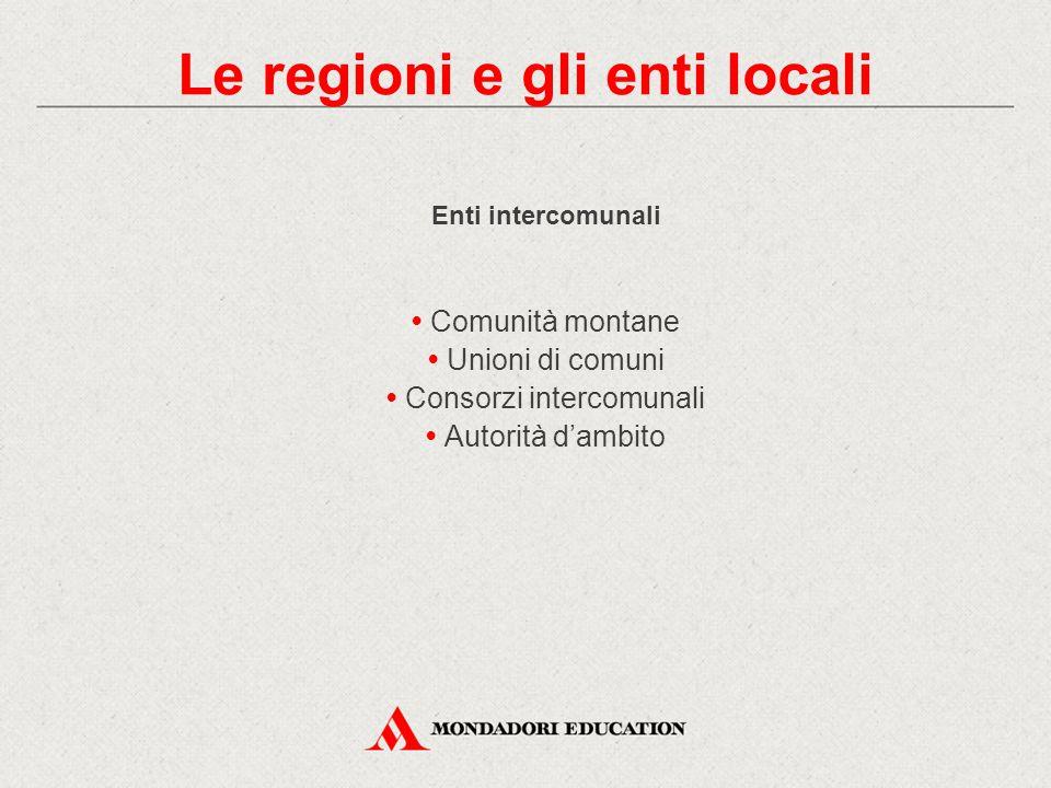 Enti intercomunali Comunità montane Unioni di comuni Consorzi intercomunali Autorità d'ambito Le regioni e gli enti locali
