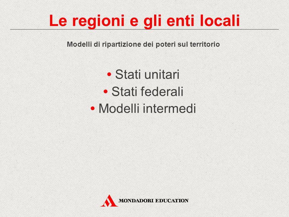 Modelli di ripartizione dei poteri sul territorio Stati unitari Stati federali Modelli intermedi Le regioni e gli enti locali