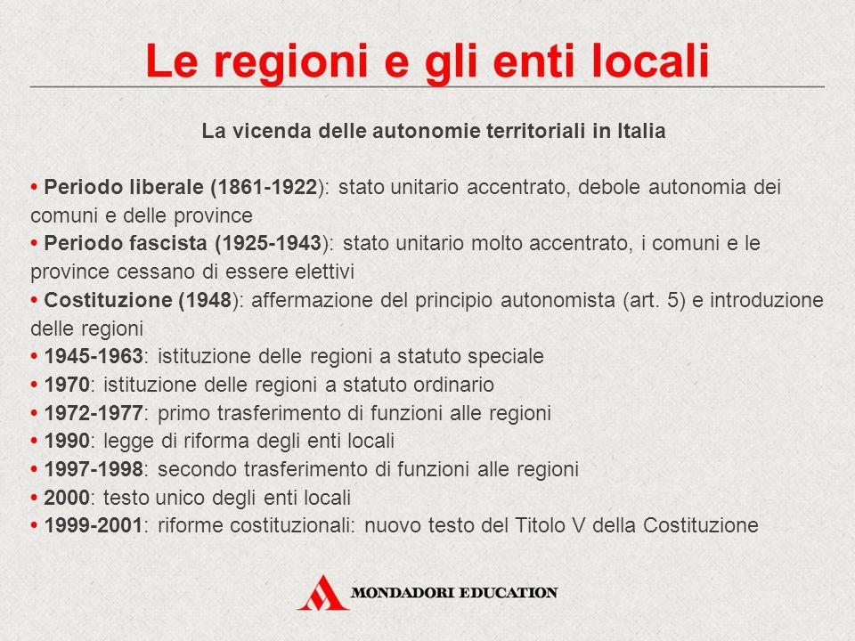 La vicenda delle autonomie territoriali in Italia Periodo liberale (1861-1922): stato unitario accentrato, debole autonomia dei comuni e delle provinc