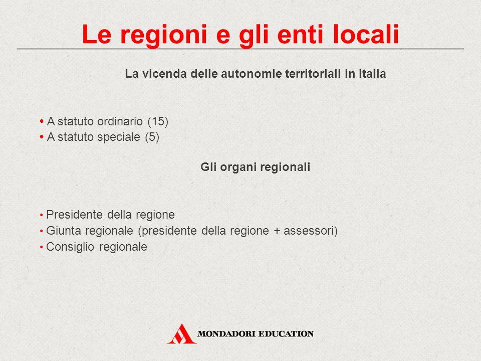 La vicenda delle autonomie territoriali in Italia A statuto ordinario (15) A statuto speciale (5) Gli organi regionali Presidente della regione Giunta