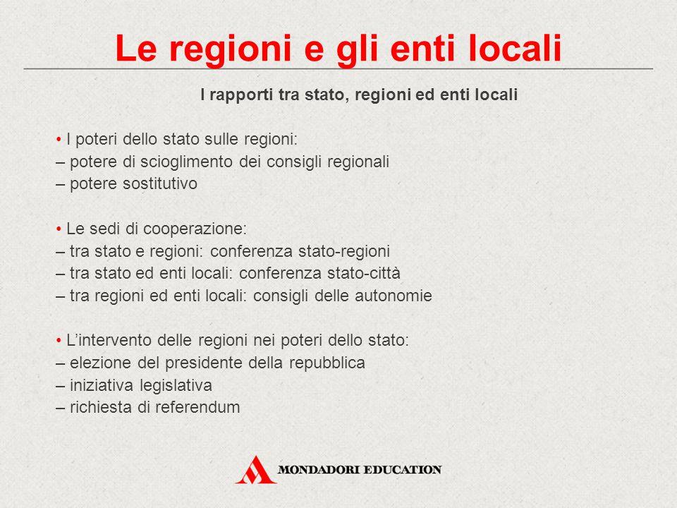 I rapporti tra stato, regioni ed enti locali I poteri dello stato sulle regioni: – potere di scioglimento dei consigli regionali – potere sostitutivo