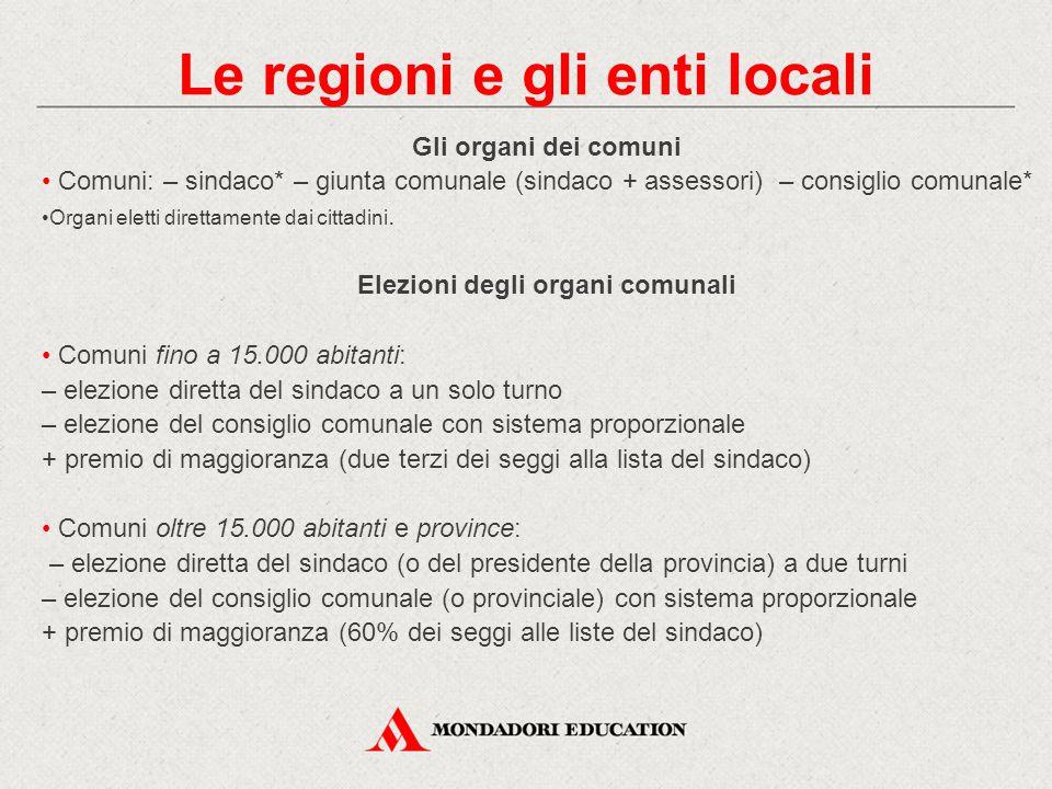 Gli organi dei comuni Comuni: – sindaco* – giunta comunale (sindaco + assessori) – consiglio comunale* Organi eletti direttamente dai cittadini. Elezi