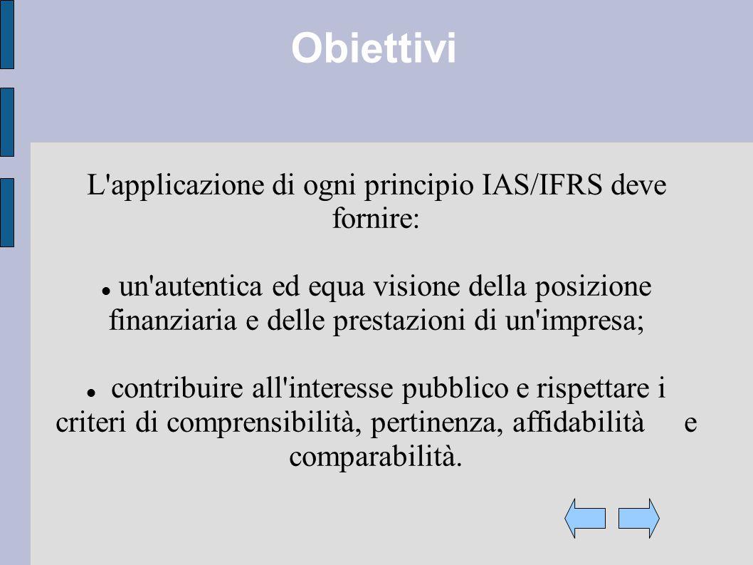 Obiettivi L applicazione di ogni principio IAS/IFRS deve fornire: un autentica ed equa visione della posizione finanziaria e delle prestazioni di un impresa; contribuire all interesse pubblico e rispettare i criteri di comprensibilità, pertinenza, affidabilità e comparabilità.