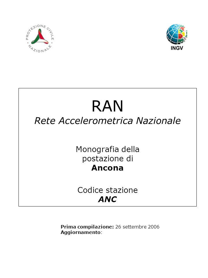 RAN Rete Accelerometrica Nazionale Monografia della postazione di Ancona Codice stazione ANC Prima compilazione: 26 settembre 2006 Aggiornamento: