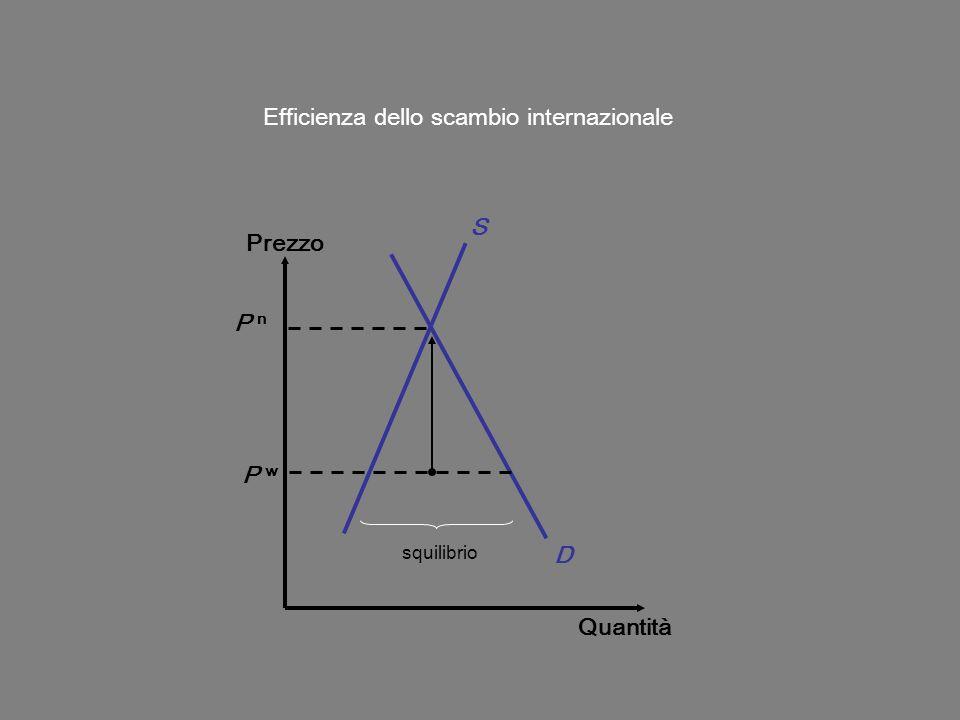 Prezzo Quantità D S P w Efficienza dello scambio internazionale squilibrio P n